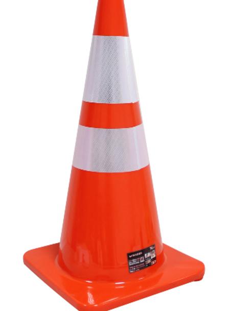 Cone sinalização 70 cm com faixa refletora