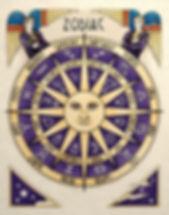 Purple and pale amber zodiac chart quad wheel