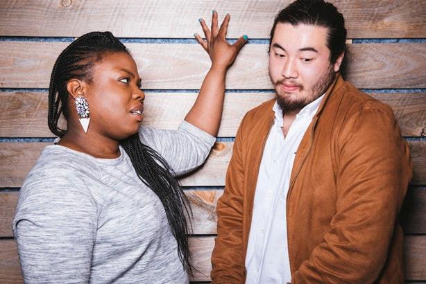 Black Woman Asian Man Disagreeing