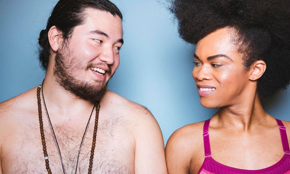 Asian Man Black Woman Smiling Couple