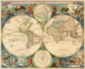 Novissima Totius terrarum ornis tabula auctore nicolao visscher astroloy world map