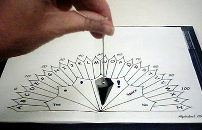 Pendulum over a fan chart