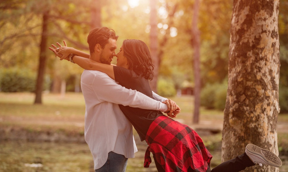 Man & Woman in love in autumn scene