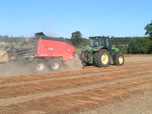 Ernte und Feldaufbereitung von Faserleinstroh in Parallellage zur Gewinnung von Technoflachs, dem Ausgangsmaterial für Türverkleidungen aus Vliesstoffmatten