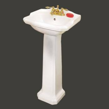Renovator's Supply Small White Cloakroom Pedestal Sink Space Saver Grade A Vitreous China Item ID # 19355