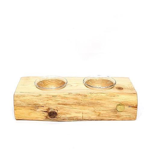 青森ヒバ原木座寵物碗 - 連玻璃雙碗 PET TABLE - 2 CUP