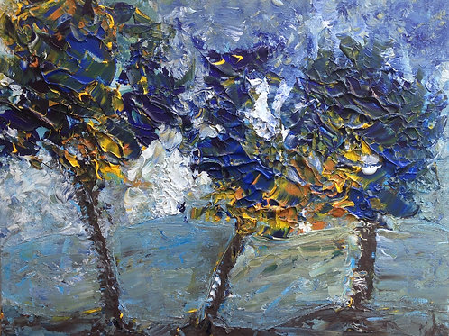 "Blue trees  16""x20"""