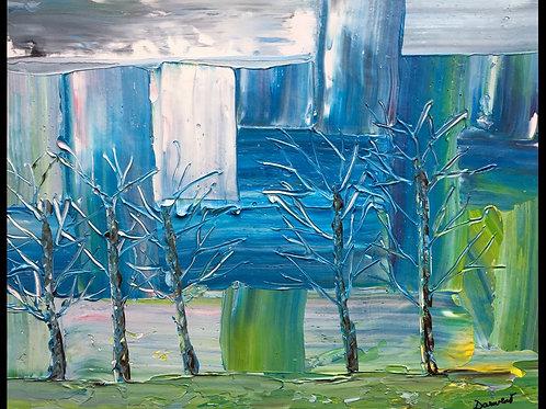 "Trees & architecture  16""x20"""