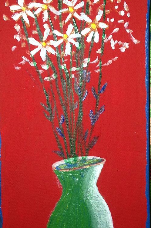 """Vase of flowers  12""""x4"""""""