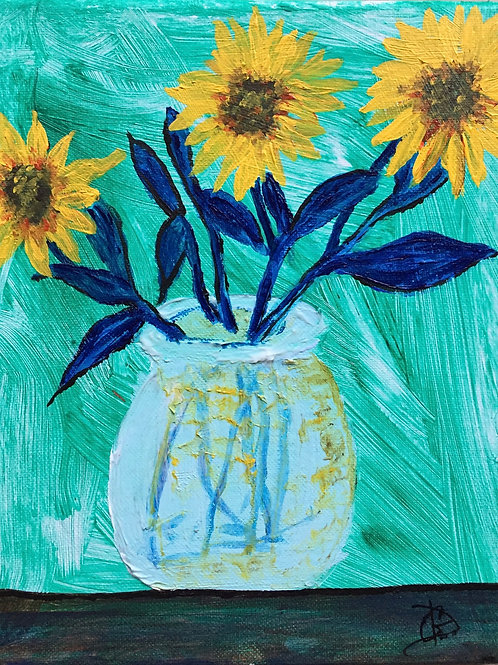 "Sunflowers 10""x8"" acrylic"