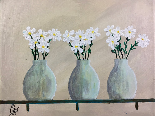 "Daisies and Urns 8""x10"" acrylic"