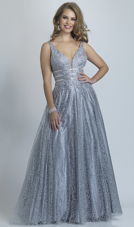 Long Silver Glitter Open-Back Ballgown for Prom