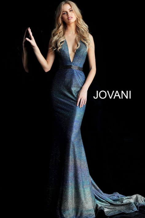 PLUNGING HALTER SEQUINED MERMAID GOWN