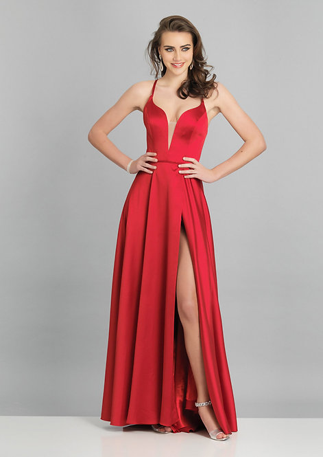 High Slit Low V neck With Open Back