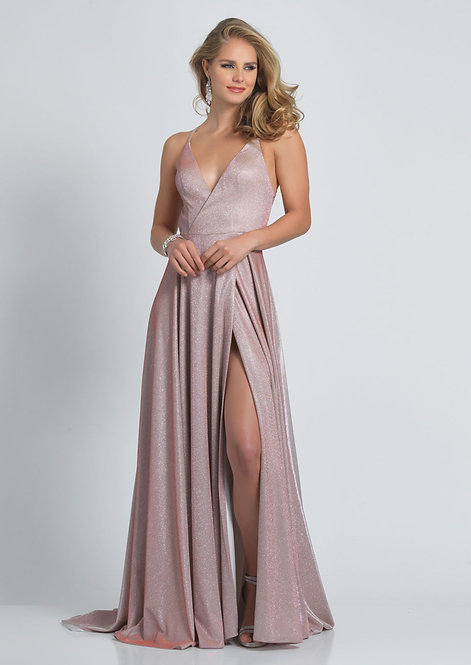 Shimmer V Neck Low Back With Slit Dress