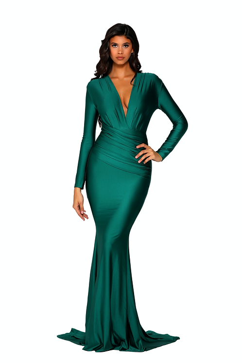 Long Sleeve Fitted Dress With a Plunging Neckline