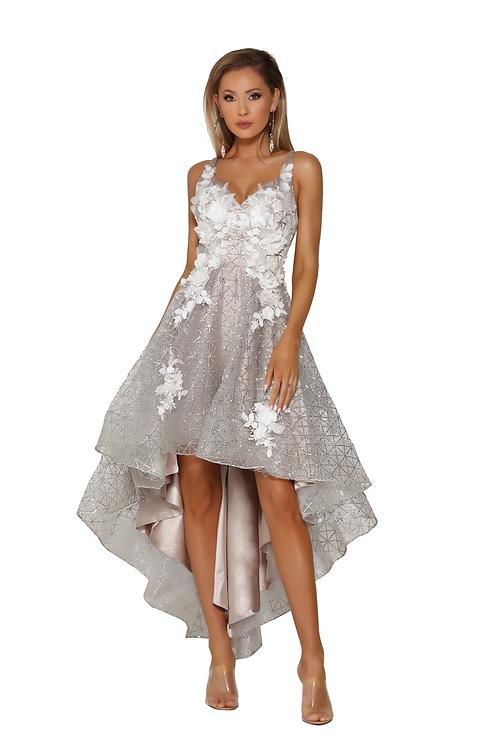 High Low Sweetheart Beaded Dress