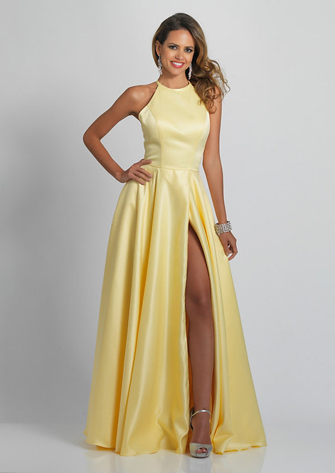High Neck Strap Back Gown With Side Slit
