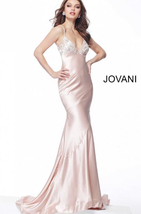 Satin Spaghetti Straps Jovani Prom Dress