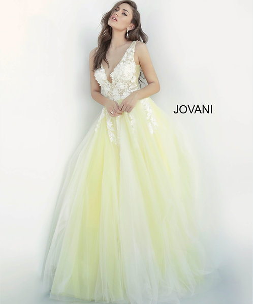 Tulle ballgown with sheer sleeveless bodice