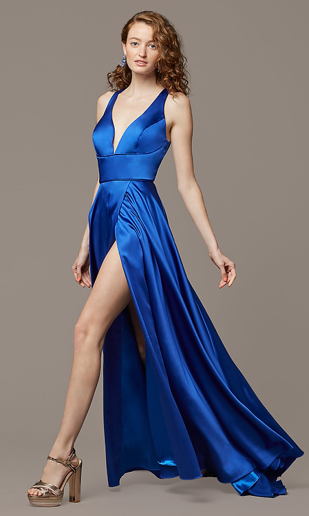 Cut Out Back Long Formal Gown With Side Slit