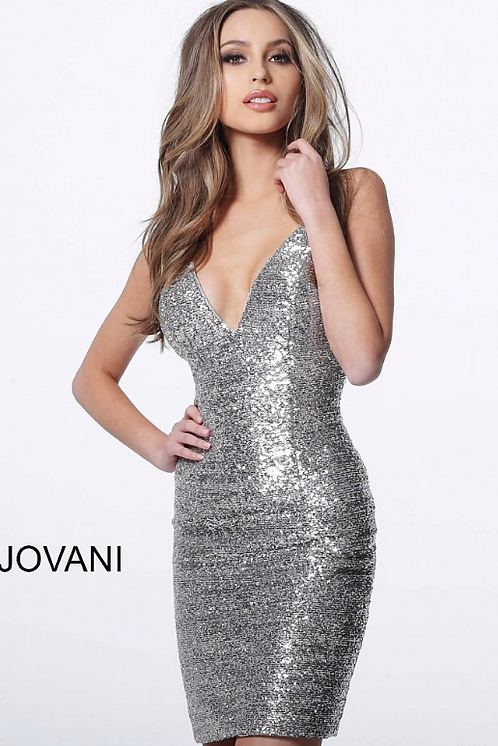 Backless Fitted Sequin Cocktail Dress