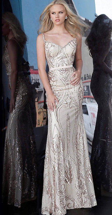 Long Fitted Embellished Gown