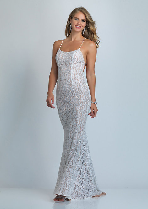 Low Back Lace Evening Gown