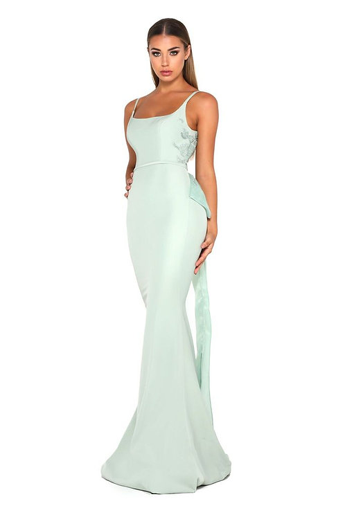 Slim Line Belt Dress With Back Zip and Detachable Bow