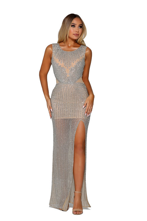 High Neckline Long Fitted Beaded Dress