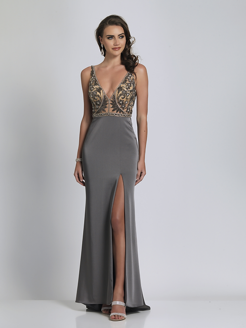 V Neck beaded Top Evening Gown