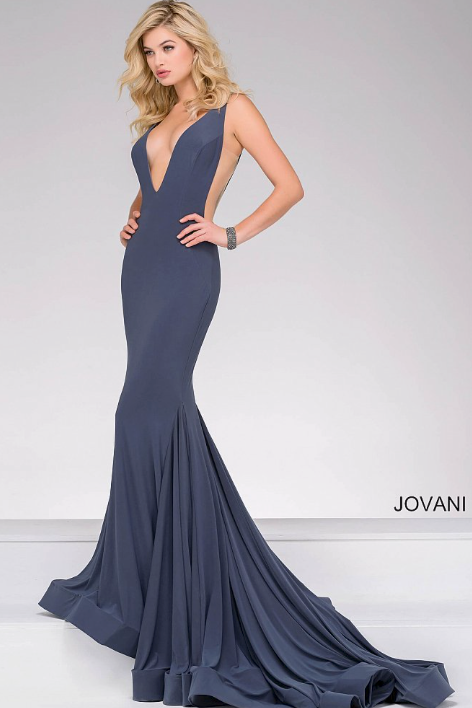 V NECKLINE LONG JERSEY PROM DRESS