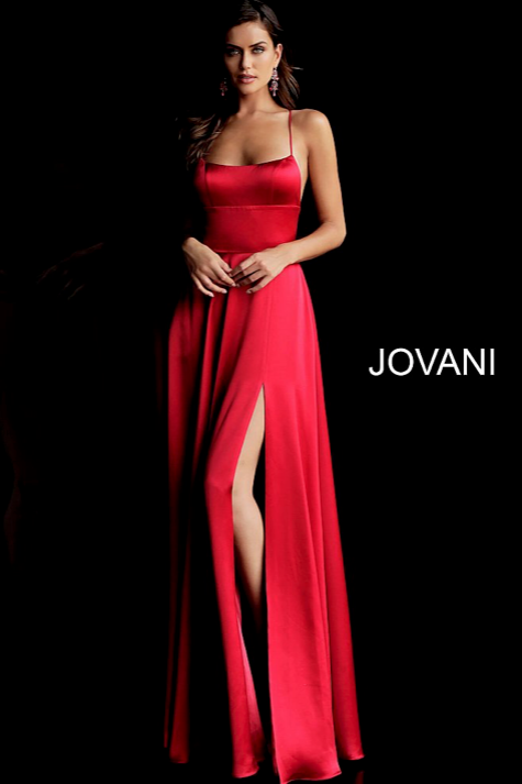 Satin Spaghetti Straps High Slit Dress