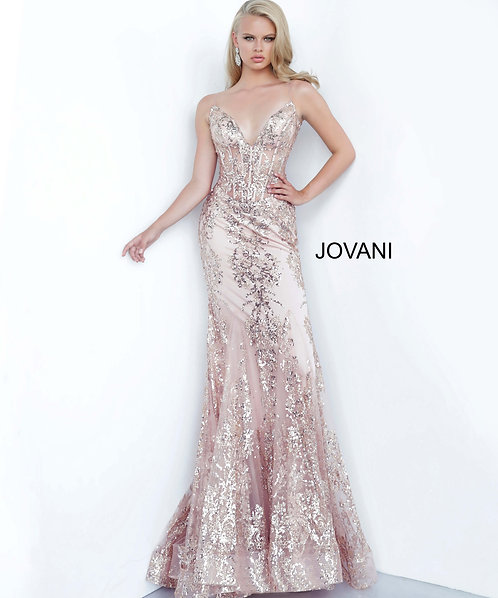 Embellished form fitting prom dress