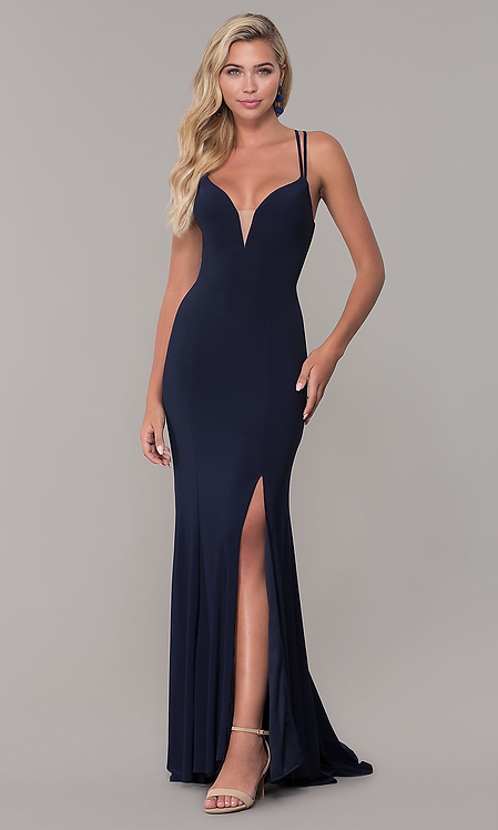 Open Back Long v Neck Evening Gown