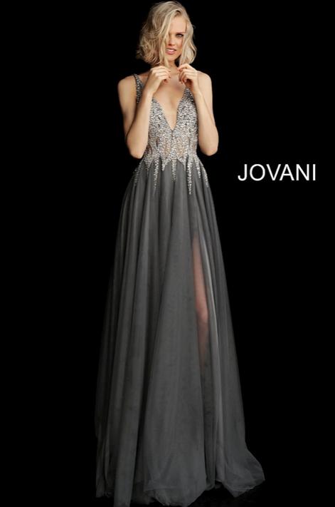 Embellished Bodice Plunging Neckline Gown