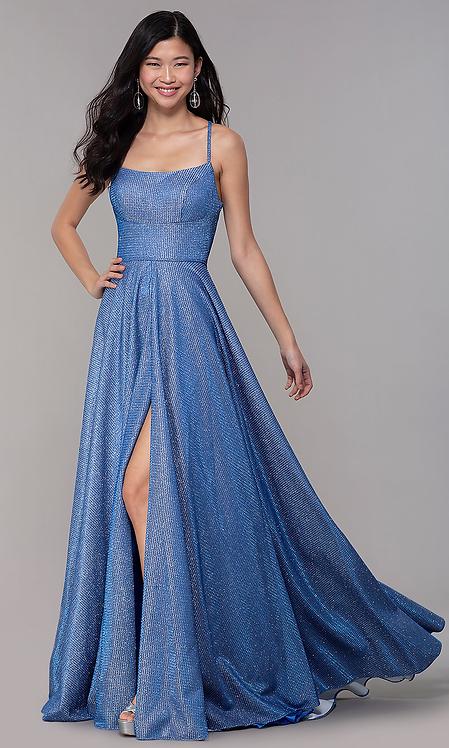 Long Square Neck Glitter Knit Sparkly Dress