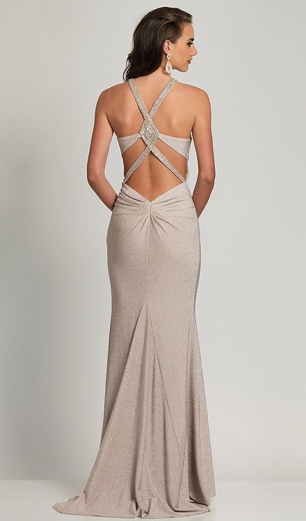 Silver Glitter Prom Dress with a Statement Back