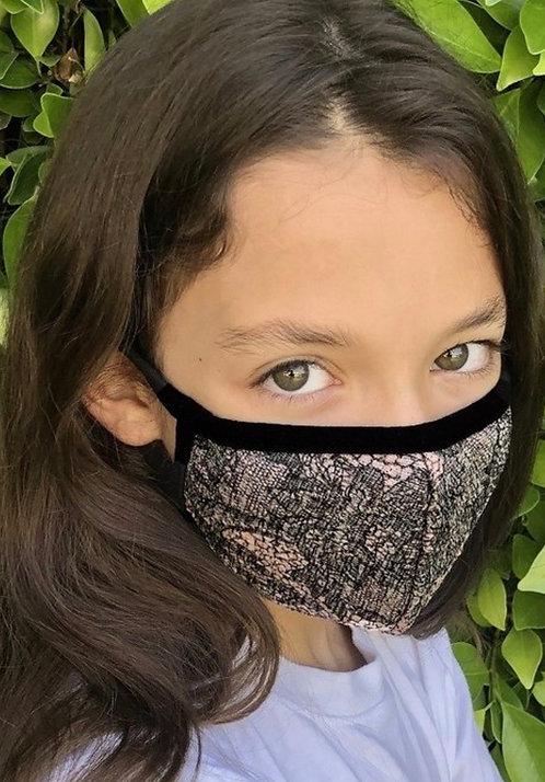 Kids Floral face mask w/filter pocket