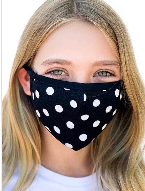 Kids black/white polka dot mask w/filter pocket
