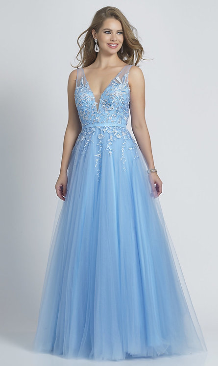 Long Periwinkle Blue Ballgown-Style Prom Dress