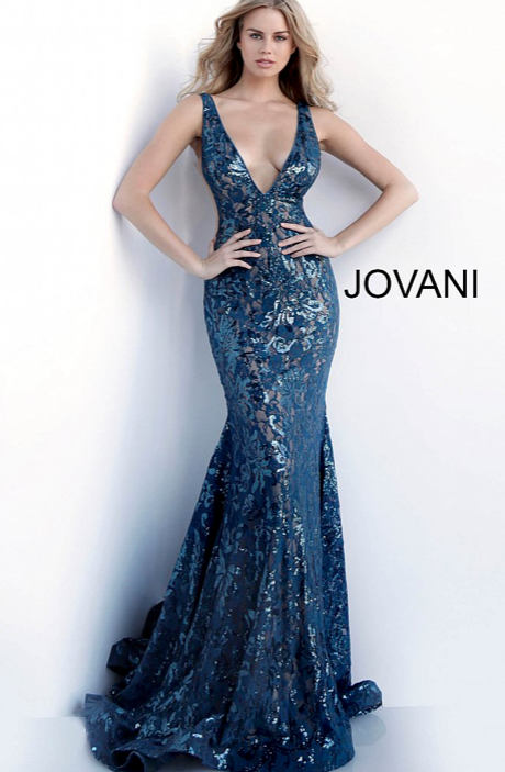 sequin embellished lace prom gown with low v-neckline