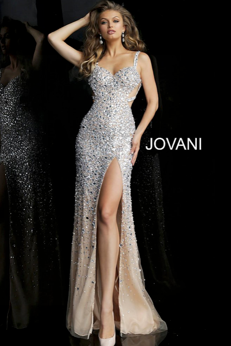 Beaded High Slit Prom Dress