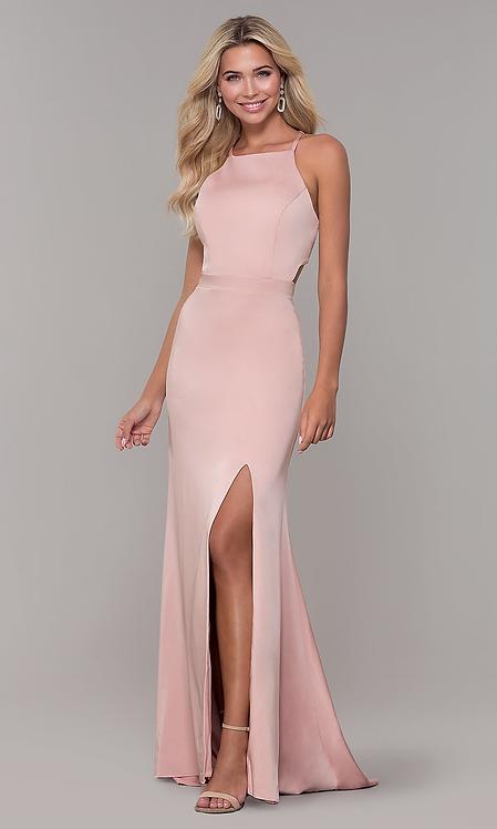 Long High Neck Dress With Slit