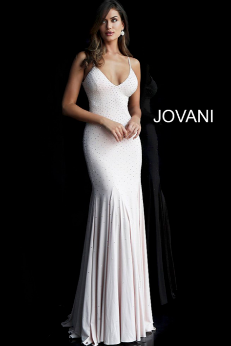 jersey embellished fitted prom dress with v-neckline