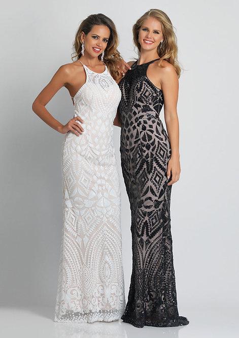 Lace-Up Back Sequin Formal Dress
