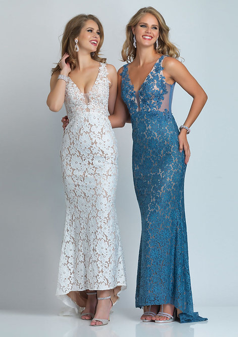Plunging V Neck Lace Applique Long Gown