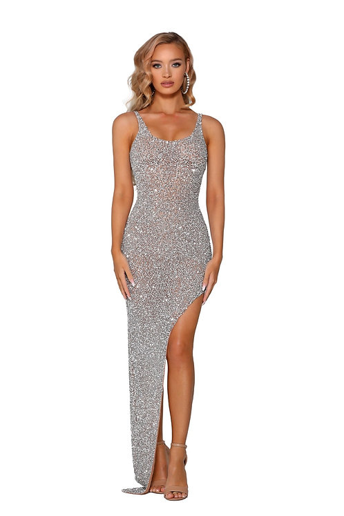 Fully Beaded High Side Slit Evening Gown