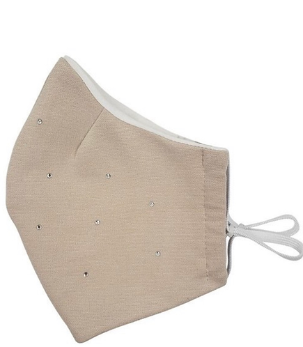 Reusable Mask With Rhinestones and Filter (Tan)