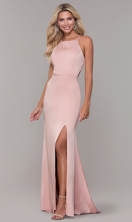 Long High-Neck Prom Dress